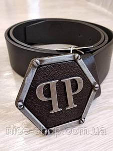 Ремень Philipp Plein кожаный, черный