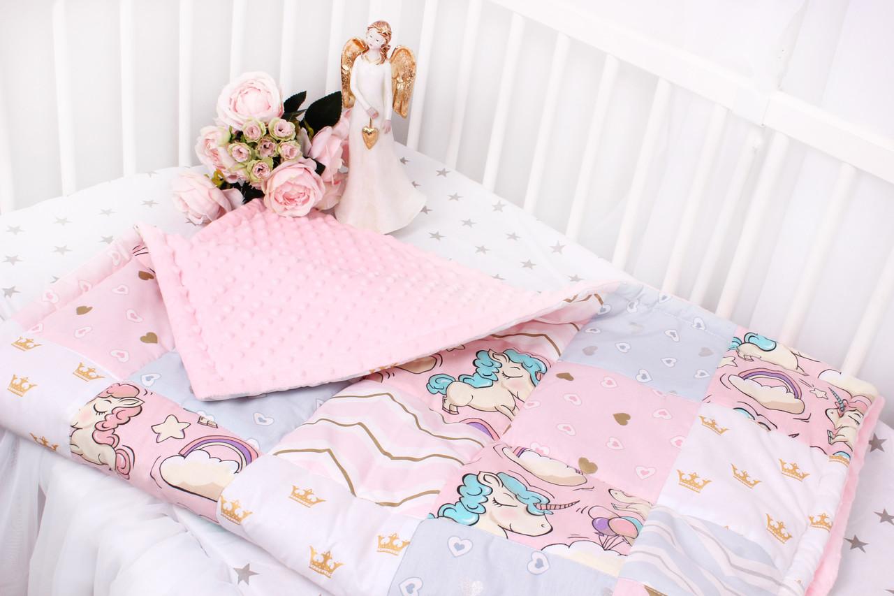Детское теплое одеяло единороги с золотом