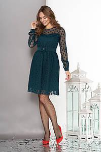 Модное платье выше колен пышная юбка фатин длинный рукав в горох бутылка
