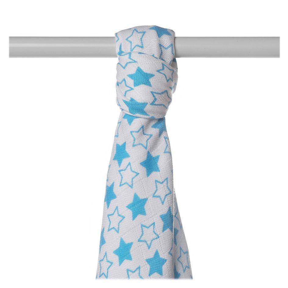 Пеленка бамбуковая, муслиновая XKKO 90x100 двухслойная 1шт. Маленькие синие звезды