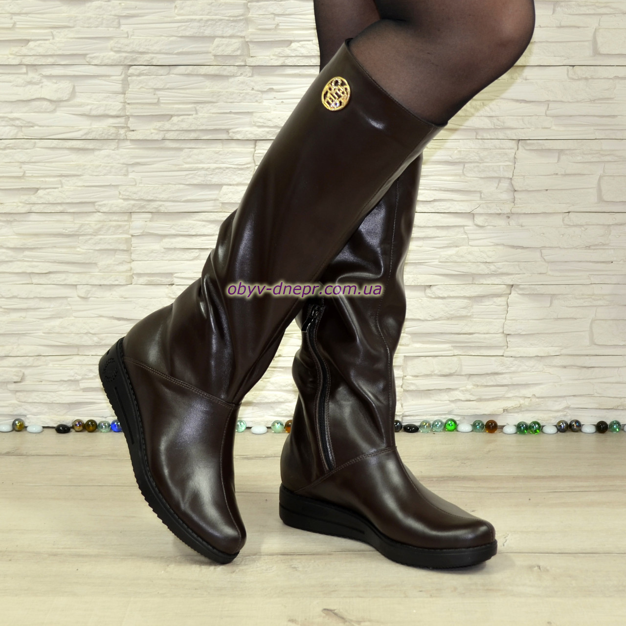 """Женские сапоги """"свободного одевания"""" из натуральной кожи коричневого цвета на низком ходу"""