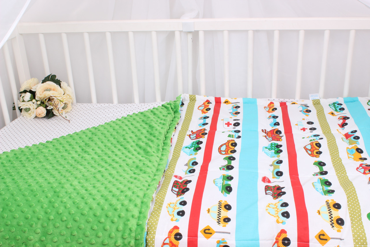 Детское теплое одеяло с машинками