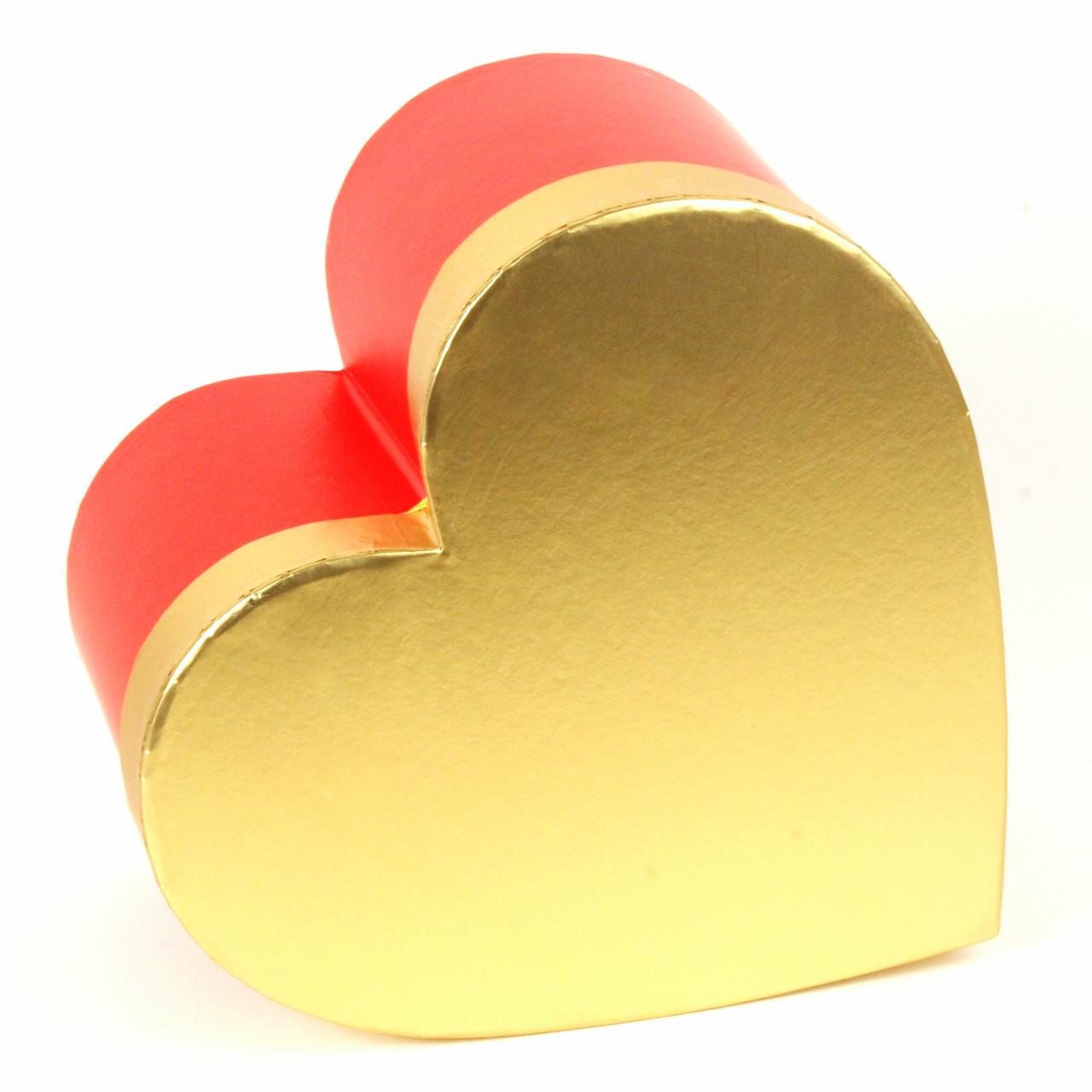 Подарочная коробка Сердце красное с золотой крышкой 26 х 25 x 14 см