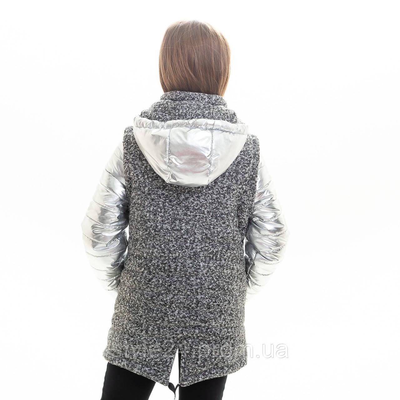 Весняна срібна куртка-жилетка на дівчинку ростом 128-146  продажа ... 078f10fd74a40
