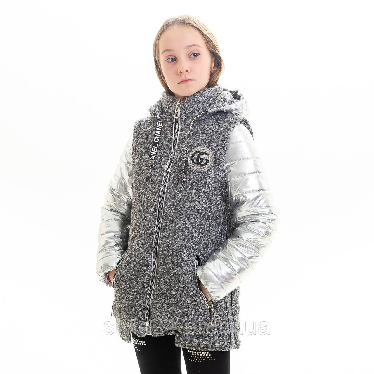 Весняна срібна куртка-жилетка на дівчинку ростом 128-146  продажа ... 07afd3fcb39db
