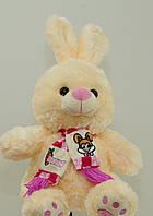 Мягкая игрушка Зайка 41 см в шарфе музыкальная плюшевая игрушка