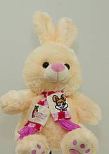 М'яка іграшка Зайчик 41 см в шарфі музична плюшева іграшка
