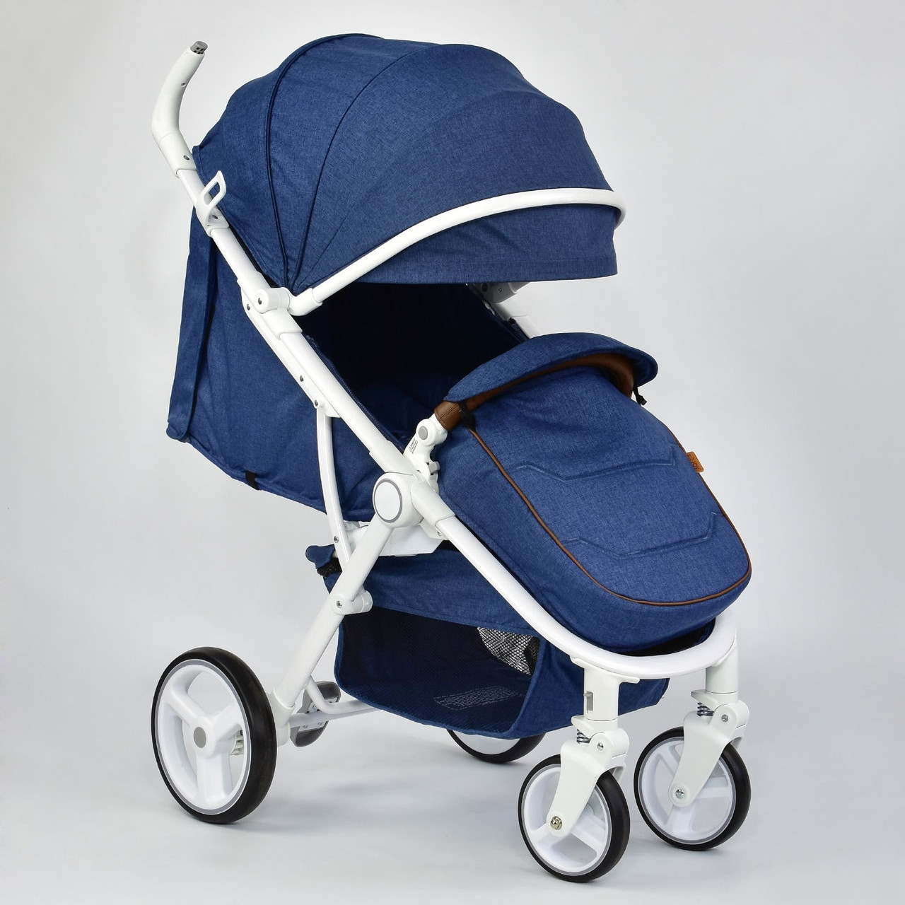 Всесезонная коляска прогулка для детей JOY 6881 цвет NAVI, с чехлом на ножки, дождевиком и большим капюшоном