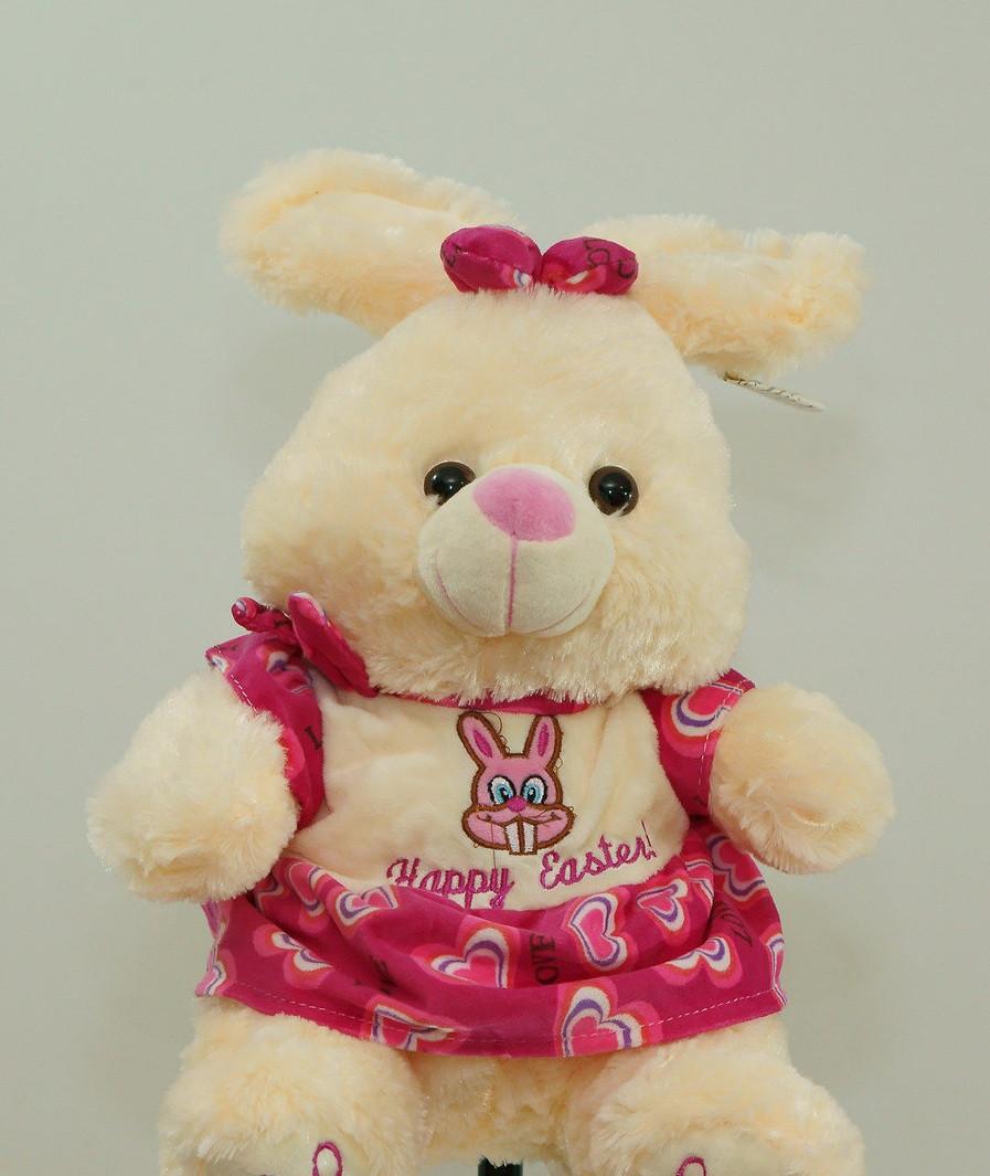 Чарівна Зайка 41 см плюшевий зайчик в рожевому платті на подарунок мовець іграшка