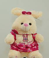 Очаровательная Зайка 41 см плюшевый зайчик в розовом платье на подарок говорящая игрушка