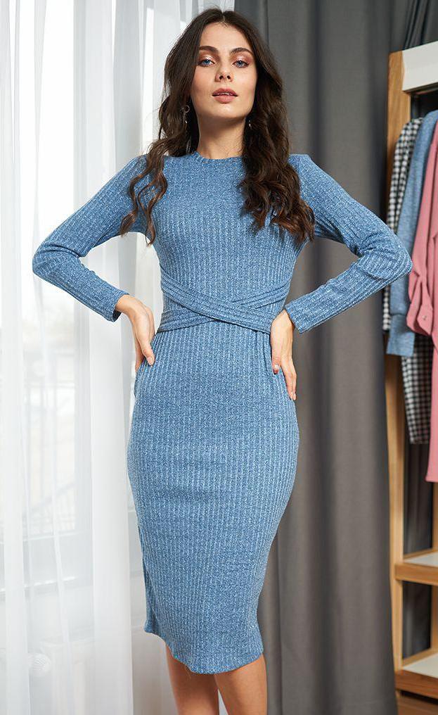Платье миди голубого цвета с люрексом. Модель 20462. Размеры 42-46