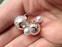 Серьги пуссеты Dior Star жемчужные , бижутерия серьги