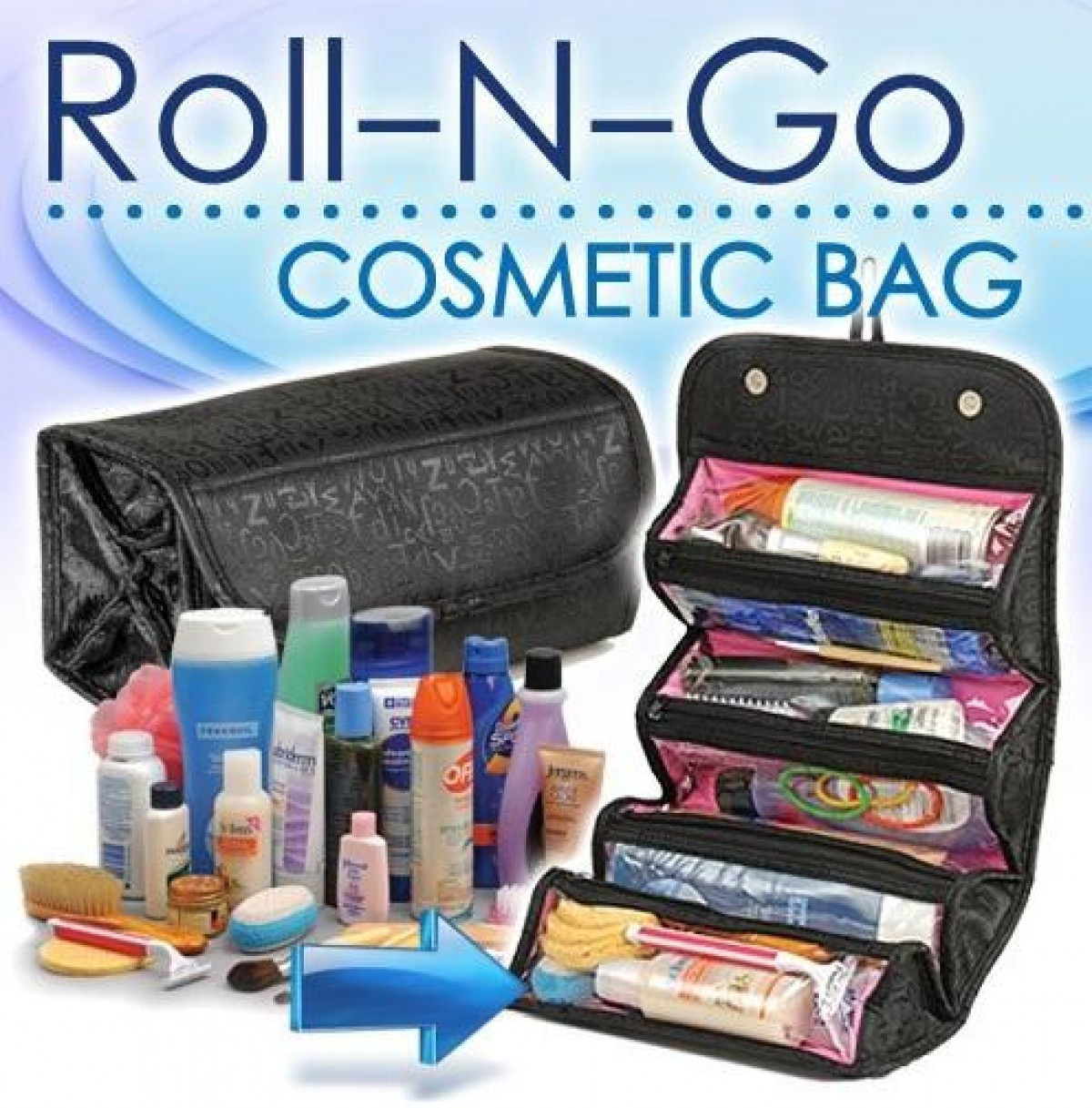 Органайзер-косметичка для косметики Roll and Pack, органайзер для хранения косметики, удобная косметичка