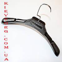 Вешалки плечики для шуб, зимней верхней одежды и трикотажа черный металлик 39 см