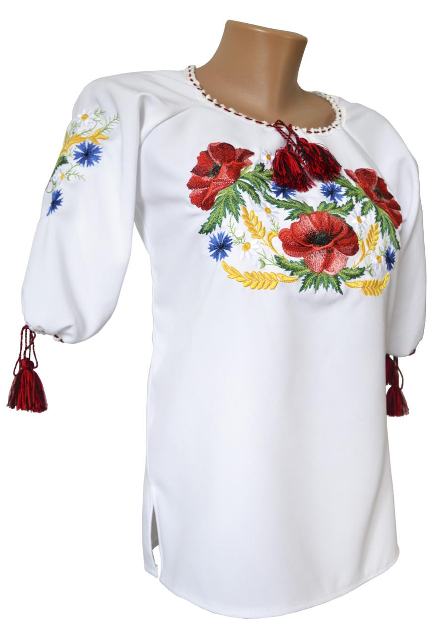 Сорочка вишита для дівчини підлітка із коротким рукавом «Мак-волошка»