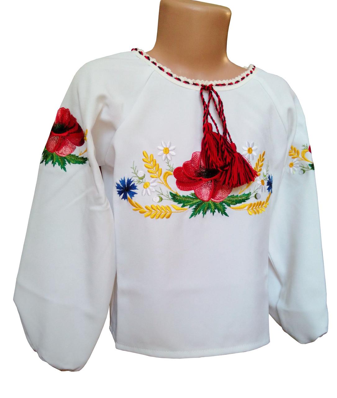 Вишита сорочка для дівчинки підлітка із білого габардину «Мак-волошка»