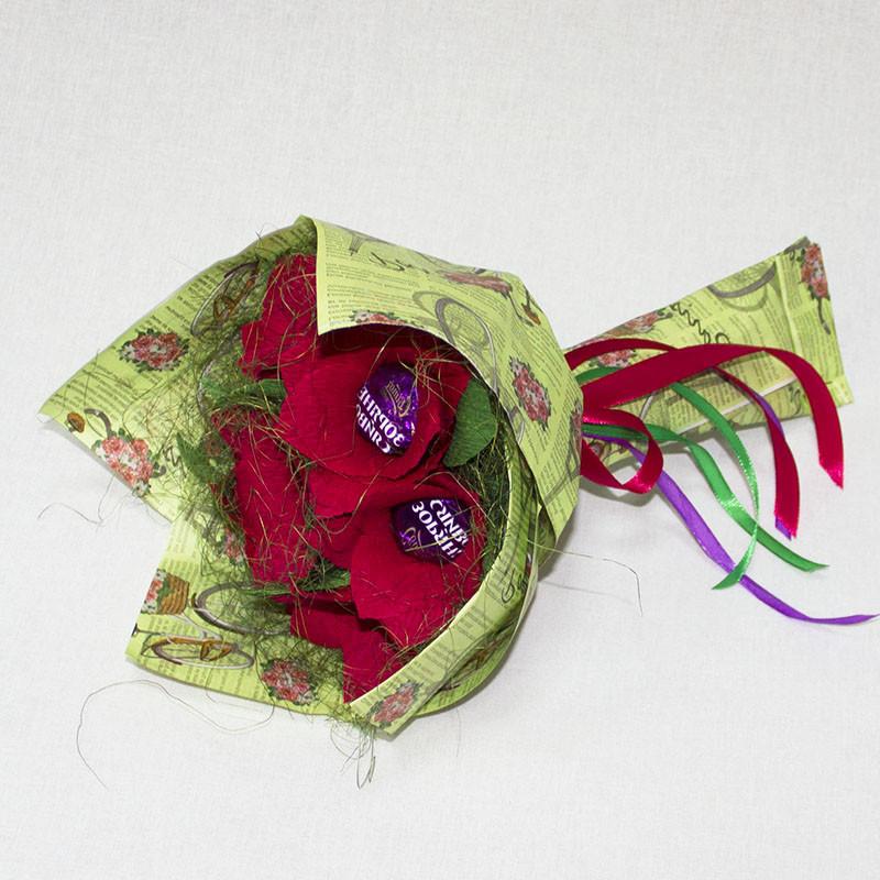 Букет из конфет красный 7 Крафт