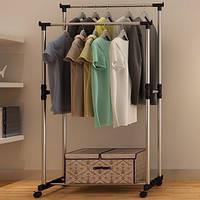 Телескопическая стойка-вешалка для одежды и обуви - Double Pole Clothes  Horse 95d6178536040