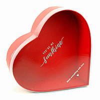 Подарочная коробка Сердце красное с прозрачной крышкой 28 х 25 x 11 см