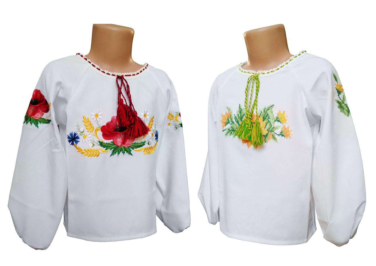 Вышитая рубашка для девочки с габардина с вышивкой цветами
