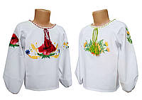 Вишита сорочка для дівчинки із габардину з вишивкою квітами, фото 1