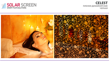 Декоративный черный цветочный узор Solar Screen Celest