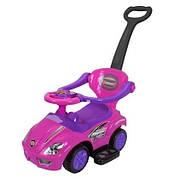 Детская машинка каталка Z 382-9 толокар с родительской ручкой (розовая)