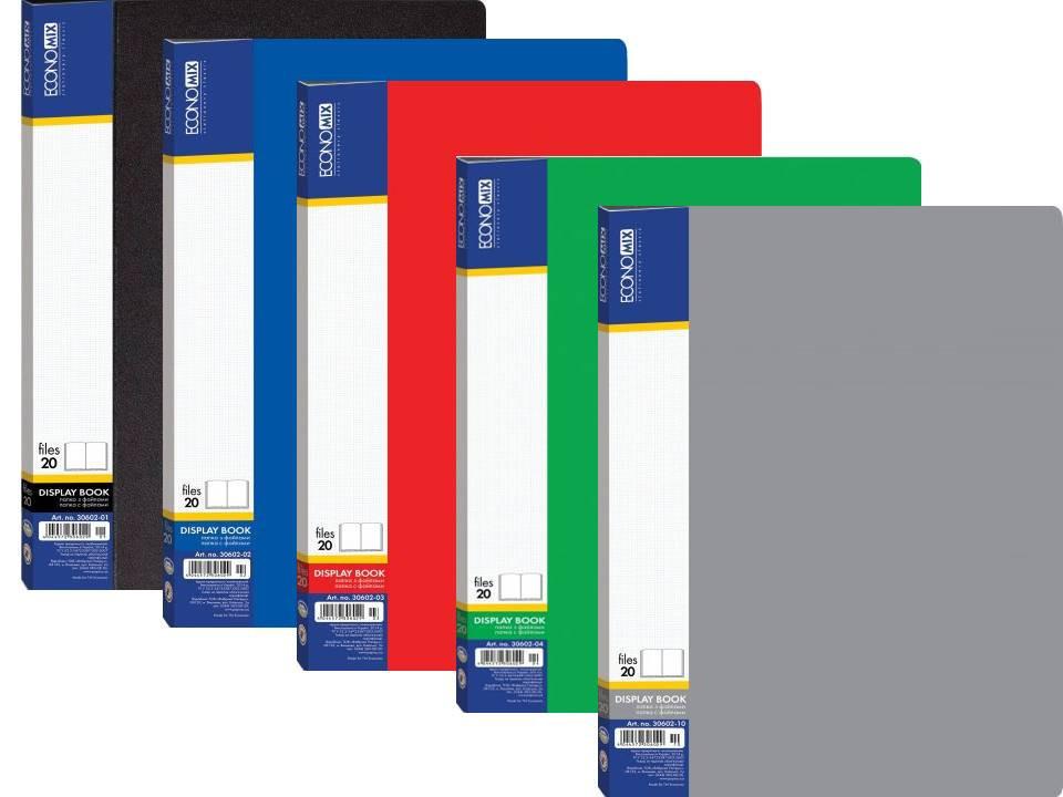 Папка А4 з 20 файлами Economix, асорті E30602