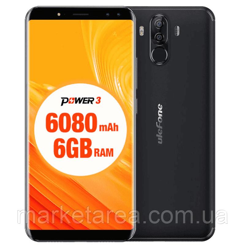 Смартфон черный с большим дисплеем и сканером отпечатка пальца на 2 сим карты UleFone Power 3 black 6/64GB