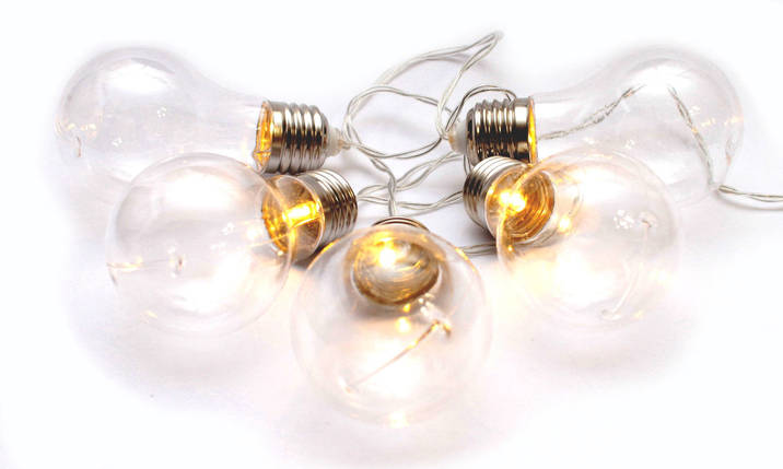 Декоративная LED гирлянда Лампочки на батарейках 5 лампочек декор, фото 2