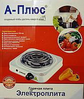 Электрическая плита на 1 конфорку а-плюс 2101, для дачи и маленькой кухни, авто-термостат, конфорка-спираль