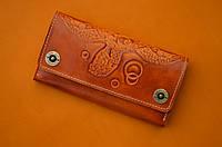 Клатч кожаный, кошелек, женский Gato Negro Alfa Big Turtle Orange ручной работы