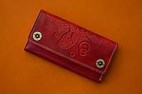 Клатч кожаный, кошелек, женский Gato Negro Alfa Big Turtle Red ручной работы