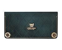Кошелек кожаный, бумажник Gato Negro Alfa-X Blue ручной работы