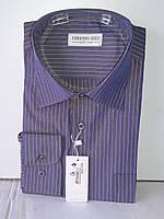 Рубашка мужская Ferrero Gizzi vd-0014 фиолетовая в полоску классическая с длинным рукавом