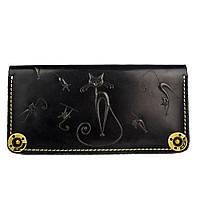 Кошелек кожаный, бумажник, женский Gato Negro Catswill Black ручной работы