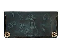 Кошелек кожаный, бумажник, женский Gato Negro Catswill Blue ручной работы