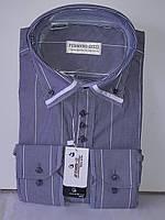 Рубашка мужская Ferrero Gizzi vd-0019 серая в полоску комбинированная классическая с длинным рукавом