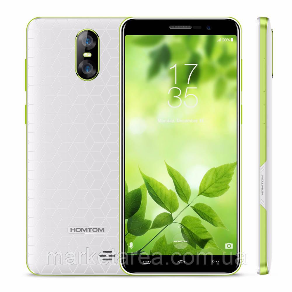 Смартфон тонкий бюджетный с двойной камерой на 2 сим карты Homtom S12 white 1/8GB
