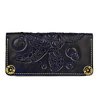 Кошелек кожаный, бумажник Gato Negro Turtle Blue ручной работы
