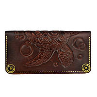 Кошелек кожаный, бумажник Gato Negro Turtle Brown ручной работы