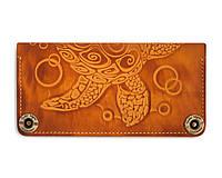 Кошелек кожаный, бумажник Gato Negro Turtle Orange ручной работы