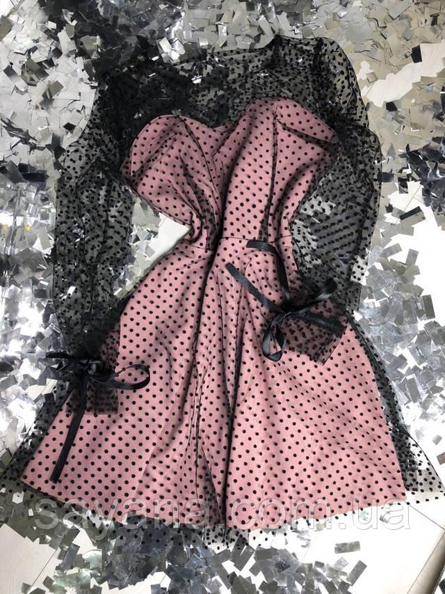женское платье с сеткой горох