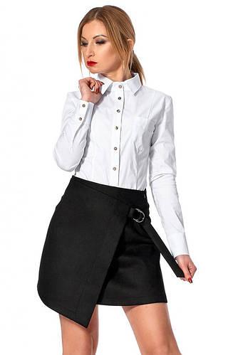 7bcbcacc404b Короткая юбка на запах черного цвета. Модель 224. Размеры 42-48