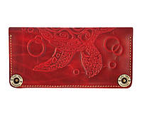 Кошелек кожаный, бумажник Gato Negro Turtle Red ручной работы