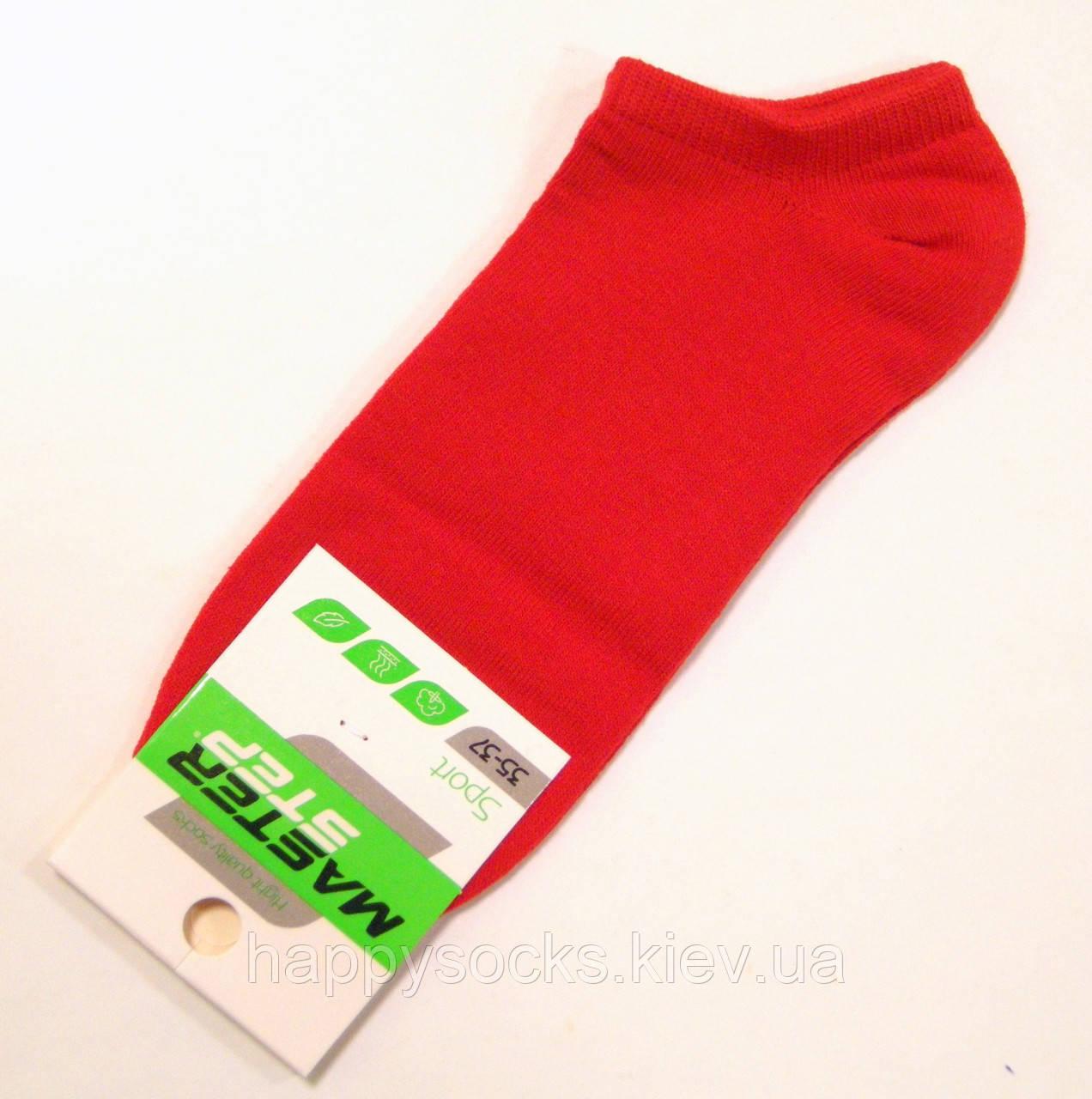 Низкие хлопковые женские носки красного цвета
