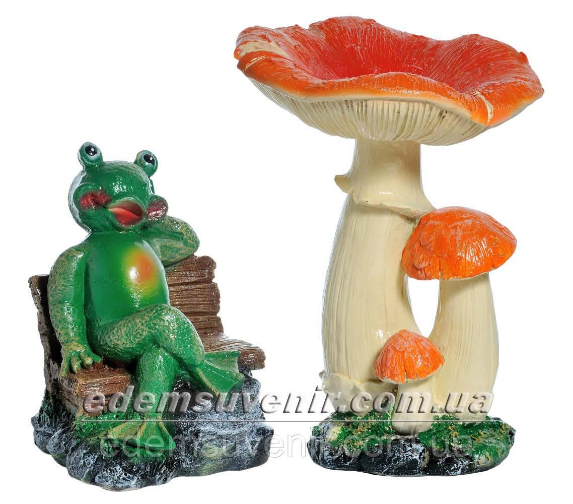 Садовая фигура Грибы Рыжики и Лягушка парковая