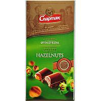 """Шоколад молочний з цільним фундуком 90г """"СПАРТАК"""" (1/20)"""