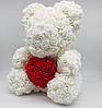Мишка из 3D роз цвет шампань Оригинальный с Сердцем Teddy de Luxe 750 шт роз высота 40 см + Парфюм в подарок