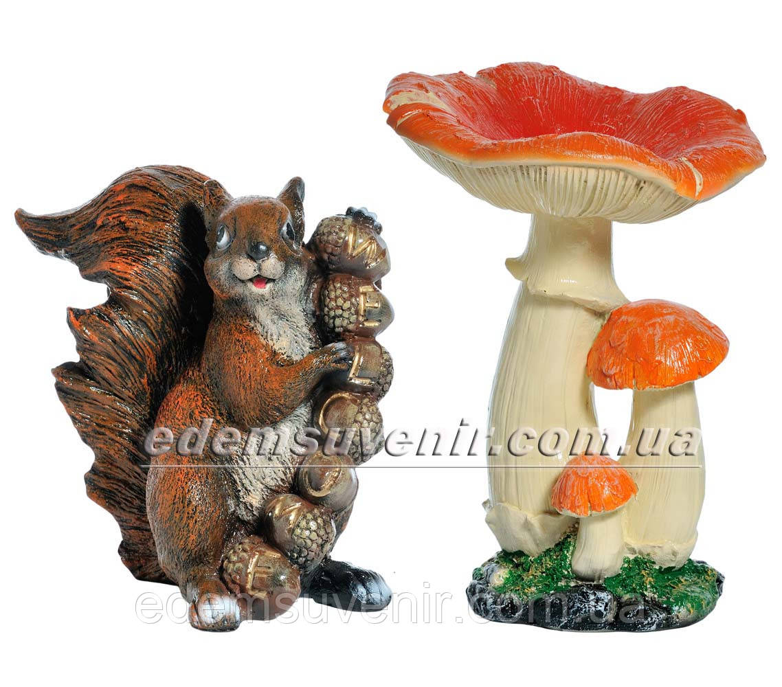 Садовая фигура Грибы Рыжики и Белка Welkome